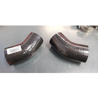 2 x 45 Degree Silicone Hoses BLACK 63mm EVO Intercooler